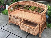 Диван плетеный с шухлядой| диван из лозы с низкой спинкой | диван плетеный из лозы, фото 1