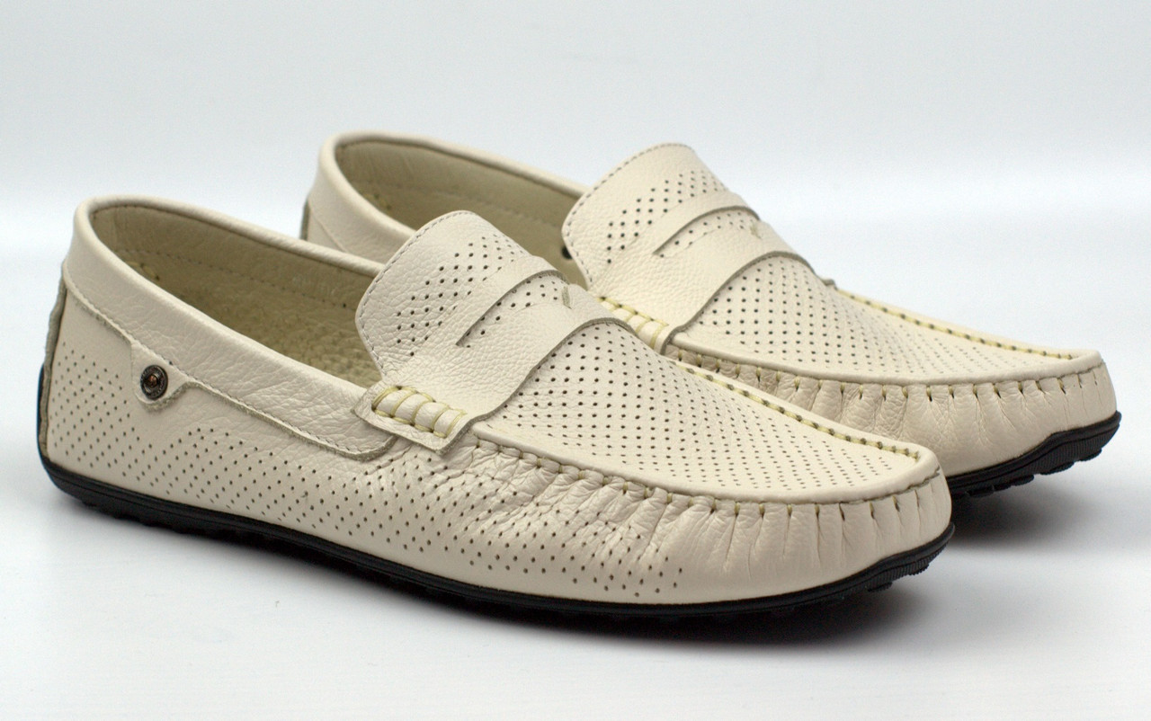 Світло-бежеві літні шкіряні мокасини перфорація чоловіче взуття ETHEREAL Classic Bleached Beige Perf