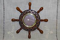 """Годинник дерев'яний настінний ручної роботи """"Штурвал"""""""