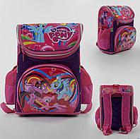 Рюкзак школьный каркасный С 43557 Розовый 3D принт Пони единорог, 1 отделение, 3 кармана, ортопедическая спинк