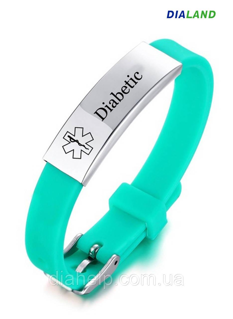 """Силиконовый браслет с металлической пластиной """"DIABETIC"""" зеленый"""