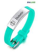 """Силиконовый браслет с металлической пластиной """"DIABETIC"""" зеленый, фото 1"""