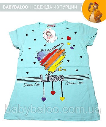 "Красивая футболка  для девочки ""Likee"" (от 9 до 12 лет), фото 2"