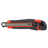 Нож строительный (пластик/резина корпус) лезвие 18мм винтовой замок Sigma (8211101), фото 1