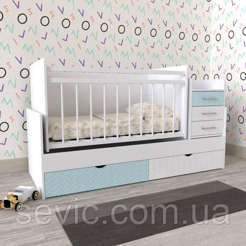 Кроватка детская для новорожденного 3 в 1 (МДФ)