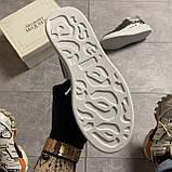 Женские кроссовки Alexander McQueen Silver Leather Trimmed Glitter, кроссовки александр маккуин, фото 8