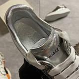 Женские кроссовки Alexander McQueen Silver Leather Trimmed Glitter, кроссовки александр маккуин, фото 7