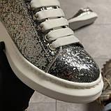 Женские кроссовки Alexander McQueen Silver Leather Trimmed Glitter, кроссовки александр маккуин, фото 4