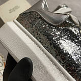 Женские кроссовки Alexander McQueen Silver Leather Trimmed Glitter, кроссовки александр маккуин, фото 5