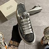 Женские кроссовки Alexander McQueen Silver Leather Trimmed Glitter, кроссовки александр маккуин, фото 2