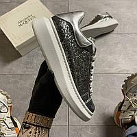 Женские кроссовки Alexander McQueen Silver Leather Trimmed Glitter, кроссовки александр маккуин