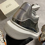 Женские кроссовки Alexander McQueen Silver Leather Trimmed Glitter, кроссовки александр маккуин, фото 6