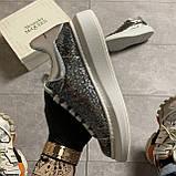 Женские кроссовки Alexander McQueen Silver Leather Trimmed Glitter, кроссовки александр маккуин, фото 3