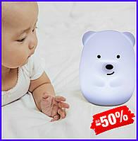 Детский силиконовый led ночник лампа Click Медведь ночные зверята, светодиодный светильник для детской 8 см