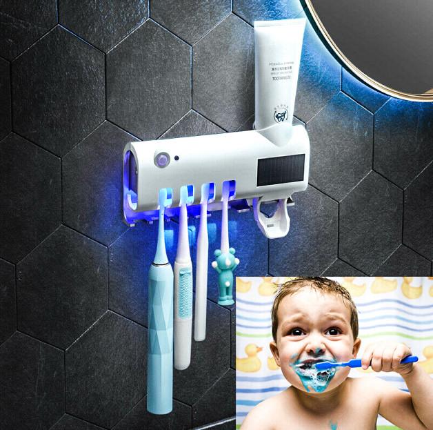 Держатель диспенсер для зубной пасты и щеток автоматический УФ-стерилизатор Toothbrush sterilizer W-020 белый