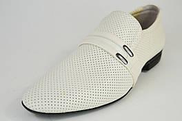 Туфли перфорированные Etor 6877 43 размер Молочные кожа
