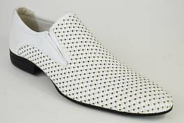 Туфли перфорированные Etor 6006 белые кожа