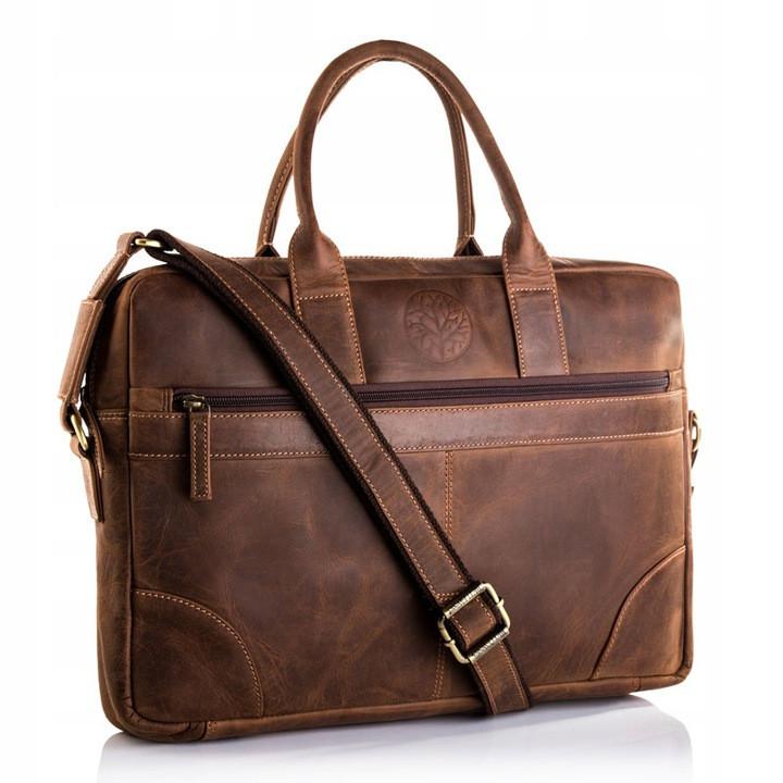 Чоловіча шкіряна сумка-портфель Betlewski 42 х 30 х 7 (TBG-HT-201) - коричнева
