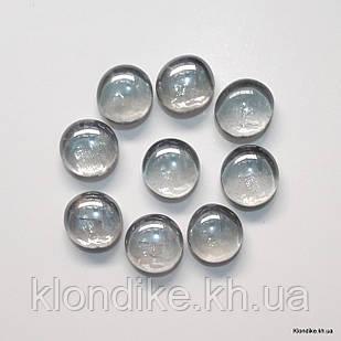 Камушки Декоративные, Круглые, Стеклянные, 18~20 мм, Цвет: Прозрачный (80 шт.)
