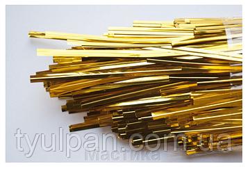 15 см Фольгированная золотая лента завязка для пакетов ( пряников  и кейк попсов)  50 шт