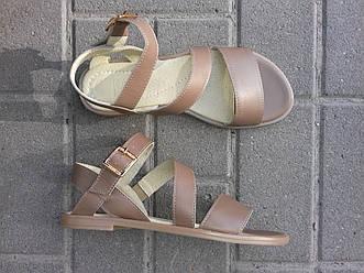 Женские сандалии кожаные капучино Размеры 36 37 40 41