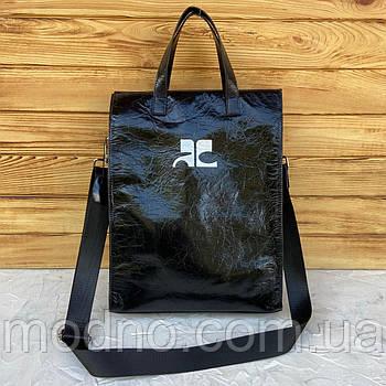 Женская большая кожаная сумка пакет через и на плечо чёрная