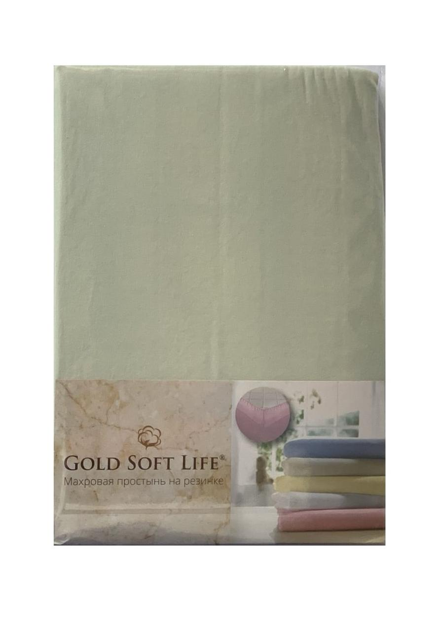 Простынь трикотажная на резинке gold soft life terry fitted sheet 90*200 ментоловый #S/H