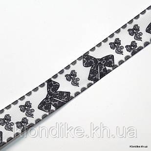 "Лента с рисунком ""бантики"", репсовая, ширина: 2.5 см"