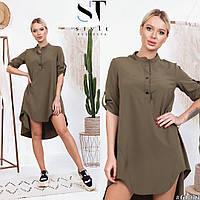 Сукня сорочка з коміром стійкою і подовженою спинкою, арт N182, колір зелений хакі