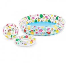 Детский бассейн круглый мяч и круг 122-25см фламинго 59460-2