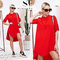 Сукня сорочка з коміром стійкою і подовженою спинкою, арт N182, колір червоний