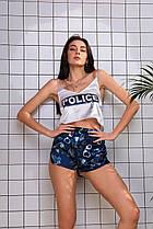 Женская шелковая пижама Police Полиция ( майка + шорты ) КАЧЕСТВО ТОП!! 100% шёлк Армани