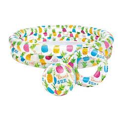 Детский надувной бассейн 3 кольца +мяч, круг 59469-2