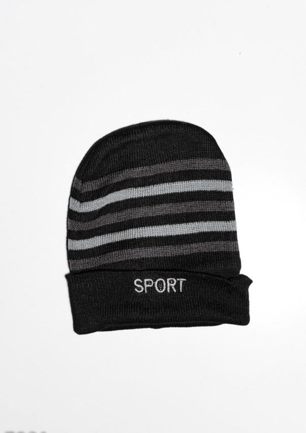 Мужские шапки  7901  Universal черный/сиреневый