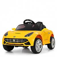 Детский электромобиль Машина Ferrari M 3176EBLR-6 желтый для девочки мальчика  2 3 4 5 6 лет машинка Феррари