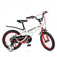 Детский велосипед  PROF1 18 дюймов белый с красным Infinity, звонок , 2+2 дополнительные колеса  до 10 лет