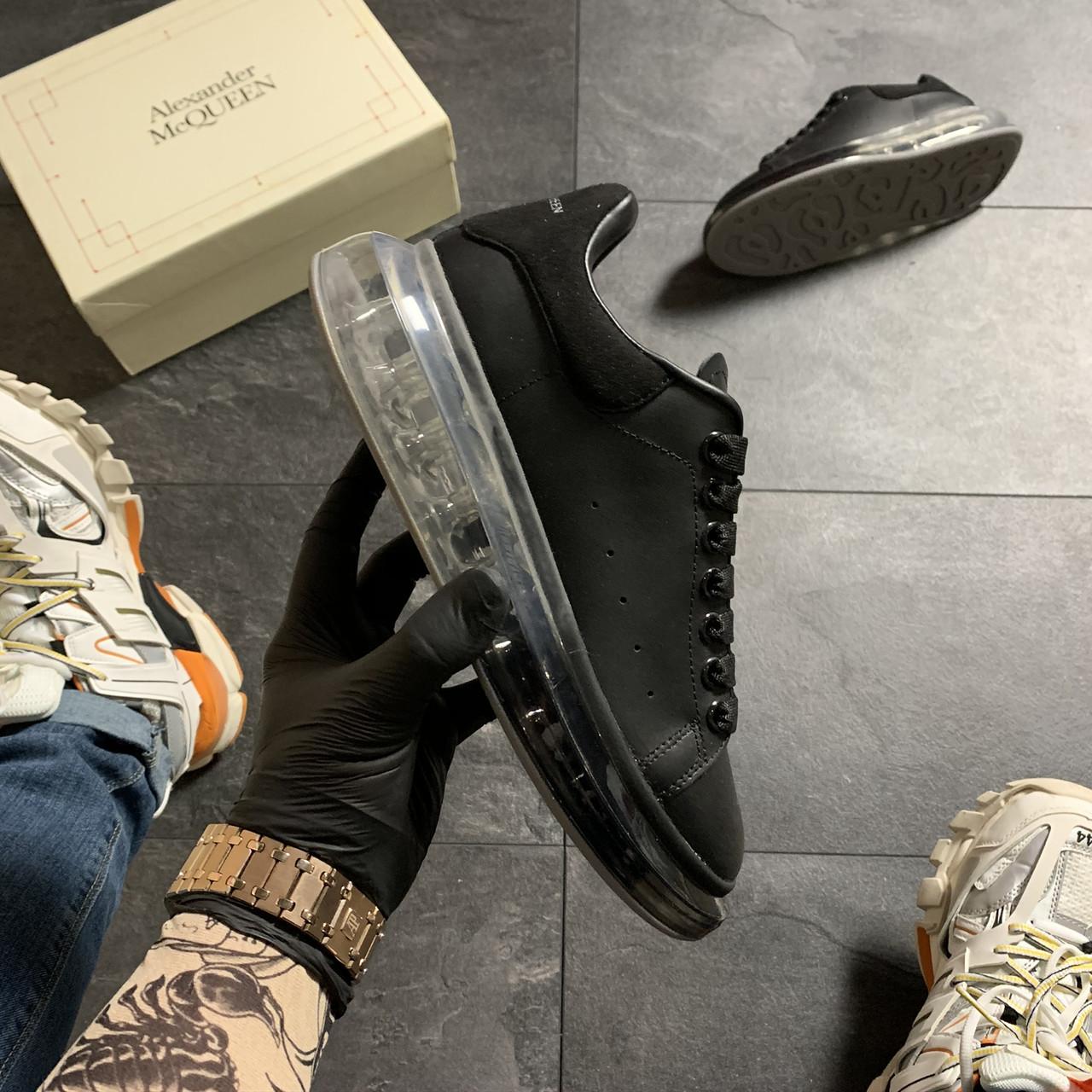 Женские кроссовки Alexander McQueen Clear Sole Black, кроссовки александр маккуин
