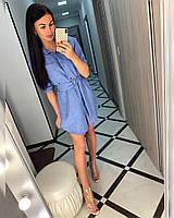 Платье, ткань: Лён габардин,  р-р  42, 44  цвет: ( Джинс, бежевый )