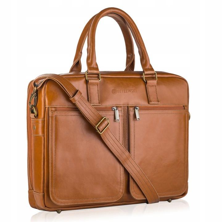 Чоловіча шкіряна сумка-портфель Betlewski 42 х 32 х 12 (BTM-02) - пісочна