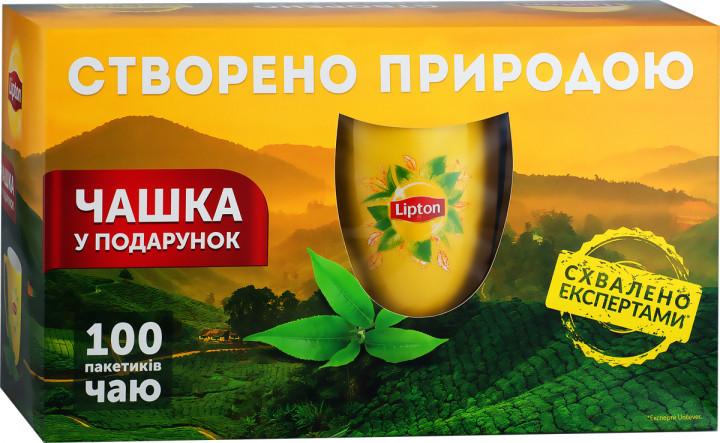 Подарочный набор черного чая с чашкой Lipton Yellow Label 100 пакетиков