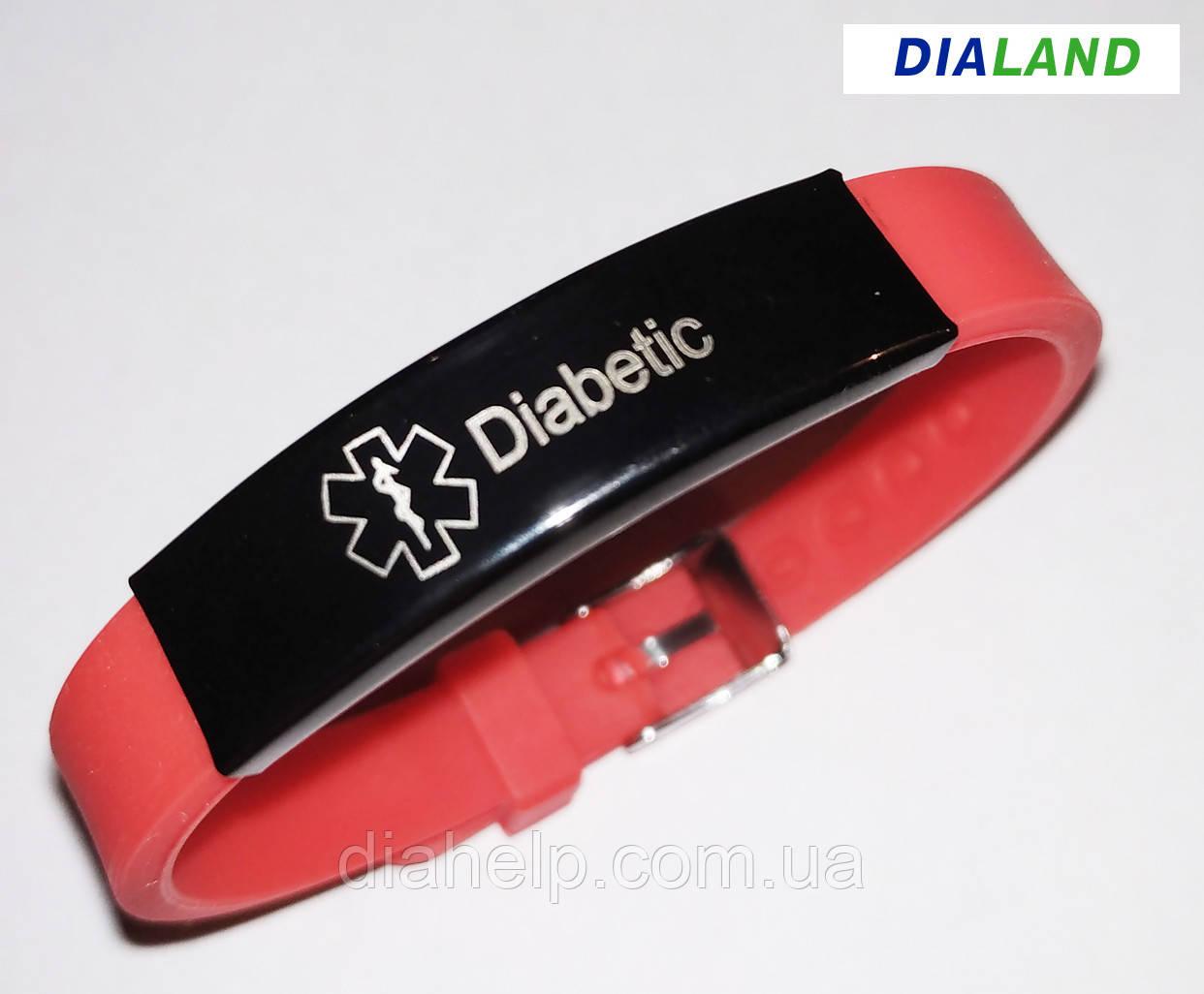 """Силиконовый браслет с металлической пластиной """"DIABETIC"""" красный"""