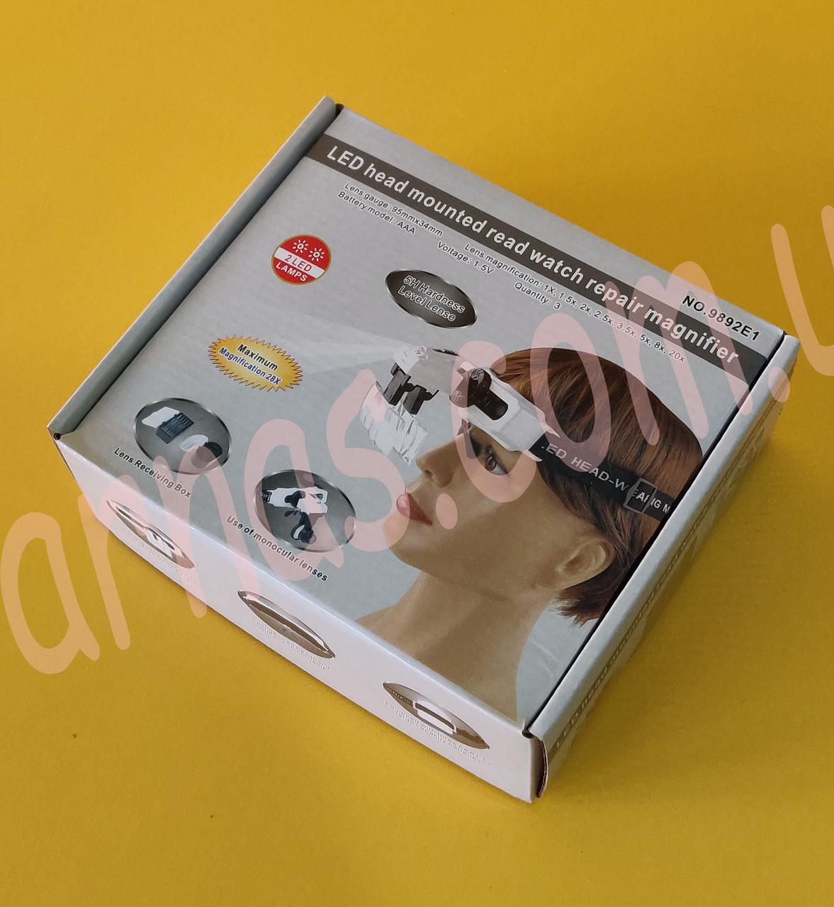 Бинокуляр очки бинокулярные со светодиодной подсветкой 9892E1
