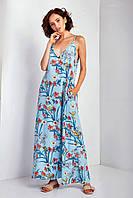 """Платье-майка брендовое TM Garne """"Aelita"""" в пол принт с глубоким декольте (2 расцветки, р.L-3XL)"""