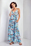 """Платье-майка TM Garne """"Aelita"""" в пол принт с глубоким декольте (3 расцветки, р.L-3XL)"""