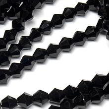 Бусины -биконус, 6 х 6 мм, стекло, 30 шт., цвет -  черный