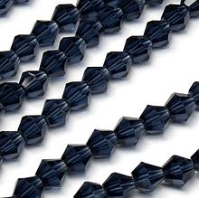 Бусины -биконус, 6 х 6 мм, стекло, 30 шт., цвет -  т.синий прозрачный