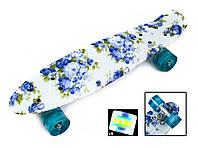 Скейт Скейтборд PENNY 22 BLUE FLOWERS, колеса светящиеся, фото 1