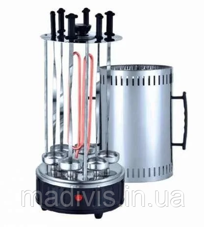Электрошашлычница Domotec на 6 шампуров шашлычница 1000W, ЧЕРНАЯ электромангал, мангал, шашлык дома