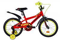 Велосипед 16 дюймов Formula FURY 2020 (оранжево-черный с салатовым)