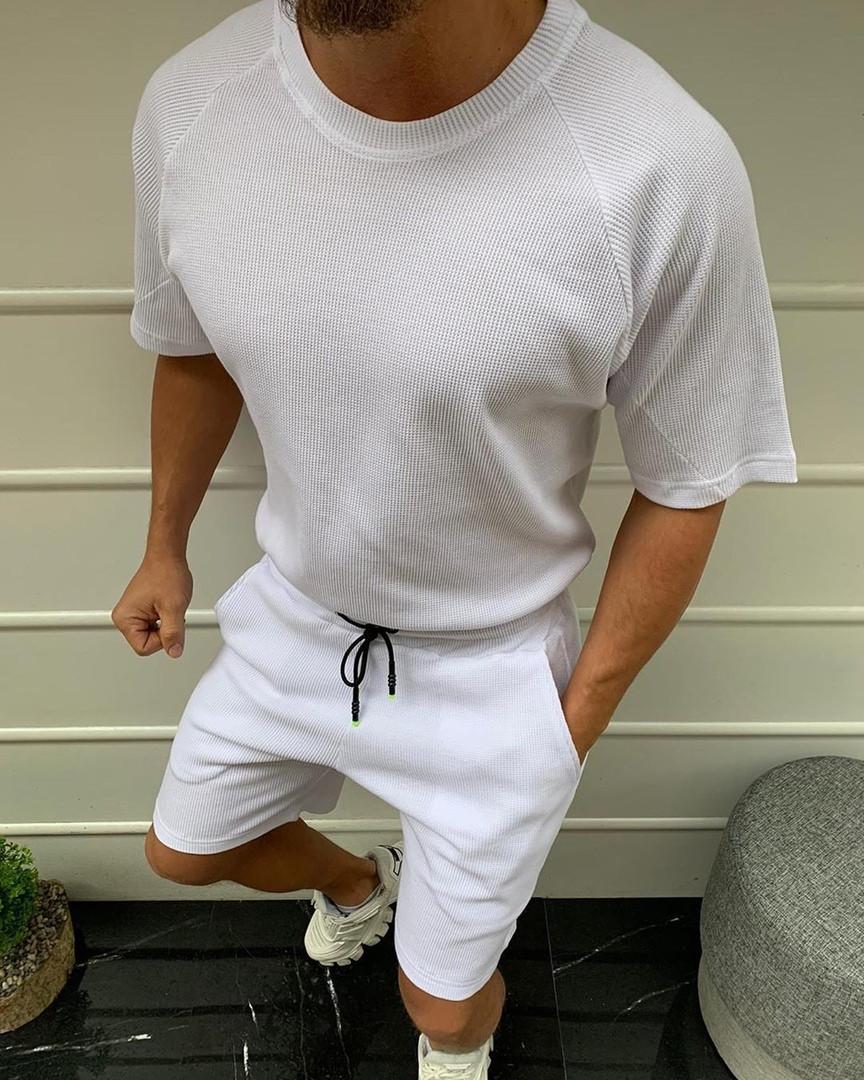 Чоловічий річний комплект шорти футболка оверсайз білий Oversize